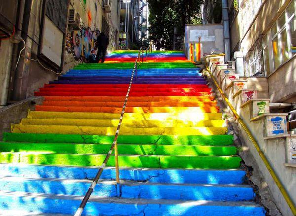 Rainbow Stairs In Istanbul, Turkey painted by Hüseyin Çetinel
