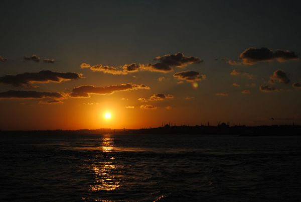 The Sunset in Europe from Asia (Istanbul, Turkey).